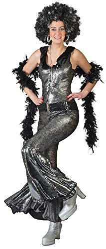 Funny Fashion Disco Doll Party pak voor dames - leuke jaren '70 disco liefde pak voor dames zwart zilver