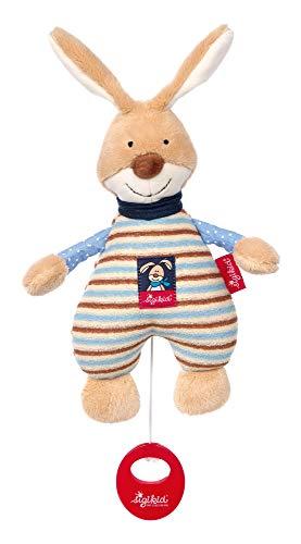 SIGIKID Jungen, Spieluhr zum Aufziehen, Semmel Bunny, Babyspielzeug, empfohlen ab 0 Monaten, blau/beige, 39265