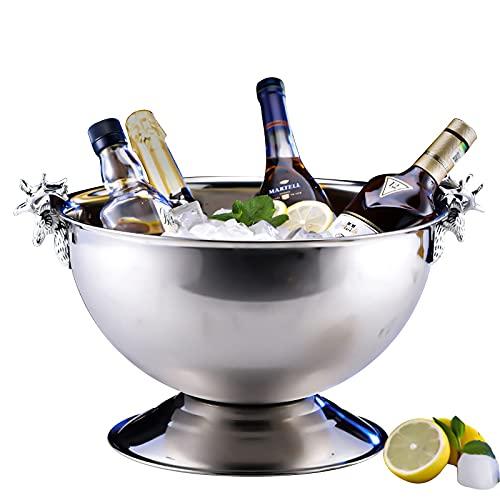 XBR Nuevo Cubo de Hielo, Enfriador de champán para un Mejor Aislamiento, Enfriador de champán de 13,5 l, Enfriador de Botellas, Enfriador de Vino, Acero Inoxidable, Plata, Mango de Cabeza de Ciervo