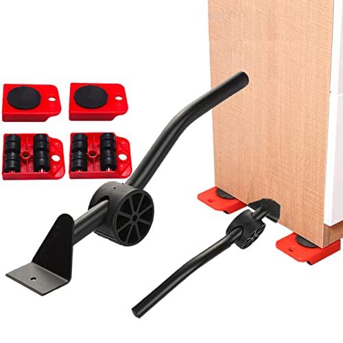 Set di Attrezzi per Il Trasporto di Mobili, Sollevatore Ruote Moving Kit, Heavy Duty Mobili Roller Spostare, Carico 200kg (Rosso)