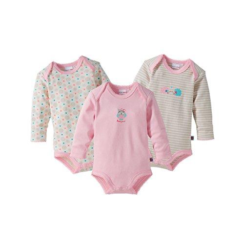 Bornino Lot de 3 bodys à manches longues bébé, rose+taupe/rayé+impriméallover