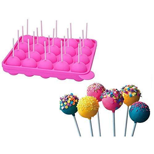 Berger 20 Pop Cake Hohlraum Formen Silikon Lollipop Tablett - Größe 22.5 * 18 * 3 cm Kreis Durchmesser 4 cm, hitzebeständig -40°C zu 230°C mit 20 Sticks (Rosa)