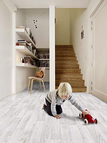 PVC Bodenbelag in weiß gemasertem Holz (8,95€/m²), Zuschnitt (2m breit, 6m lang)
