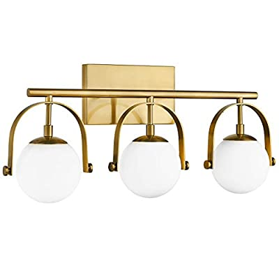 Modern Bathroom Vanity Light Fixtures, 3-Light Bathroom Light Fixtures in Gold Finish with Frosted-Glass Globe Glass, 22.75 Inch Vanity Lights for Bathroom, LMS-079