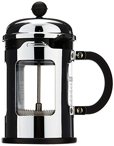 Bodum Chambord 4 Cup French Press Coffee Maker with Locking Lid Stainless Steel, 17-Ounce