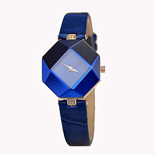 ALISUO MYDD AYSMG Gem Cut Geometry Crystal Leather Cuarzo Reloj de Pulsera de Moda for Damas (Rojo) (Color : Blue)