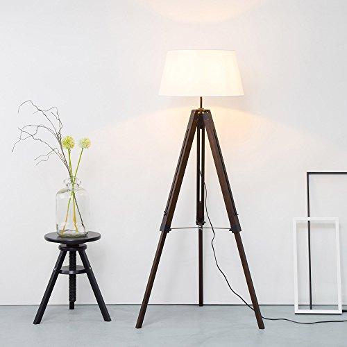Stativ Stehleuchte mit Textilschirm, Tripod Dreibein aus Holz, H 145 cm, Ø 45 cm, 1x E27 max. 60W, Metall/Holz/Textil, holz dunkel/weiß