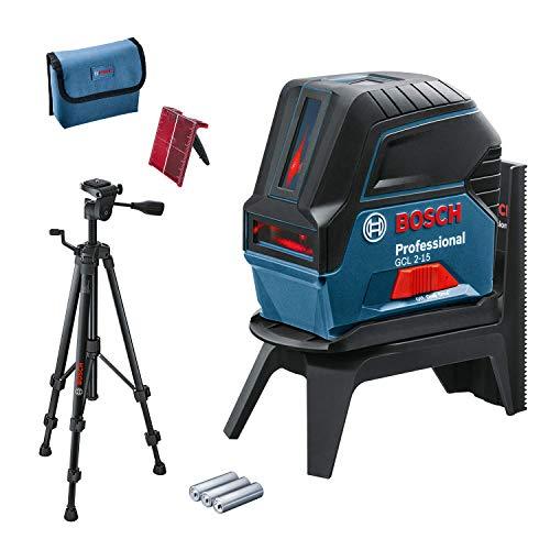 Bosch Professional Kreuzlinienlaser GCL 2-15 (roter Laser, Innenbereich, mit Lotpunkten, Arbeitsbereich: 15 m, 3x AA Batterien, Drehhalterung RM 1, Laserzieltafel, Schutztasche, Stativ BT 150)