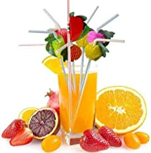 JQYXSS 50 PCS Disposable Cocktail Drinking Straws for Tropical Hawaiian Beach Cocktail Luau Birthday Party Decorations Sup...