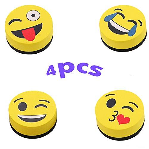 X-BLTU Smiley Magnetic Tablero de Borrado en Seco de Pizarra, Tablero de Dibujo Emoji Limpieza de Borrador Adecuado Para Niños, Profesores,Escuela, Oficina, Familia (4PCS)