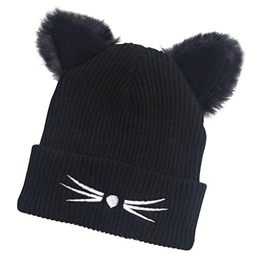 Tinksky Katzen Ohren Mütze warm Wintermütze Mode Strickmütze mit Fellbommel für Frauen Mädchen (Schwarz)