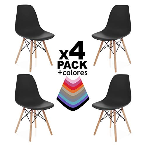 Due-home innovations Pack 4 sedie, Faggio, Nero, 56x47x81 cm, 4 unità