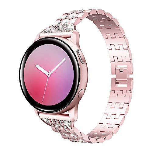 Emibele Correa de Reloj para Samsung Galaxy Watch Compatible con 42mm / Galaxy Active 2 (40mm / 44mm), Pulsera de Aleación con 20mm de Muñeca Ajustable Gear S2 Classic/Gear Sport - Rosa