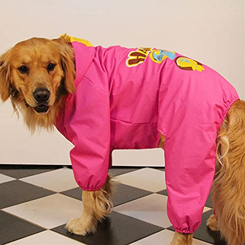 HDDFG Ropa Impermeable para la Lluvia para Perros de Verano, Impermeable para Perros Grandes, Samoyedo, Golden Retriever, Disfraz de Labrador, Abrigo para Mascotas (Color : Red, Size : 28)
