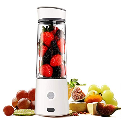 XUE-BAI 400MLJuicer Cup,Mini Portable Juicer Blender Extractor with USB Cable and 4 PCS Blades,Household Fruit Mixer for Baby Travel,Easy to Carry,Easy to Clean/White