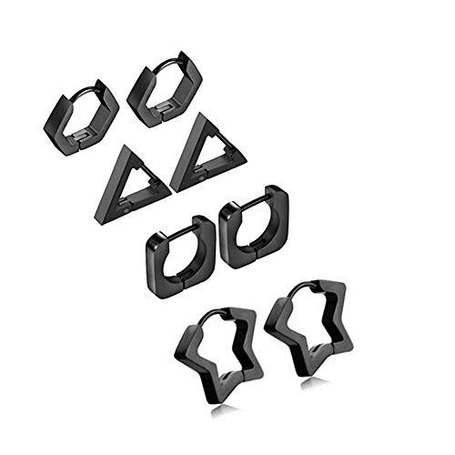 JewelryWe Pendientes de triángulo clásicos para mujer y hombre, de acero inoxidable, color a elegir Mix Nero