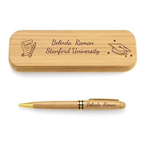 Personalisierter Kugelschreiber mit Gravur Name Spruch Bachelor-Kappe in Holz Schachtel Box Schreibset Retro-Look Abschluss Geschenk für Freundin Klassenkamerad Kollegen