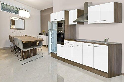 respekta Küchenleerblock Küche Leerblock Küchenzeile 330 cm Eiche York weiss