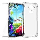 HYMY Funda para LG K40S Smartphone + 1 x Cristal Templado - Transparente Tapa TPU Silicona [Refuerzo...