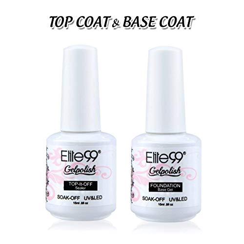 Elite99 Gel Nail Polish Base Coat Top Coat Set Soak Off UV LED Gel Nail Varnish Manicure Nail Art Set (15ML Top and Base Coat Set)