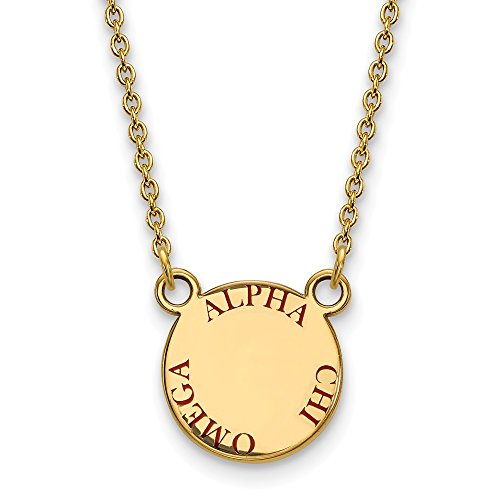 Solid 925 Sterling Silver with Gold-Toned Alpha Chi Omega Extra Small Enl Pendant with Necklace (12mm)