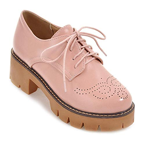 MIOKE Women's Round Toe Platform Oxford Pumps Lace Up Wingtip Chunky Mid Heel Vintage Brogues Dress Shoes Pink