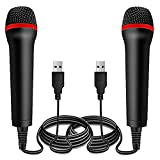 2Pack 13ft Wired USB Microphone for Rock Band, Guitar Hero, Let's Sing - Compatible with Sony PS2, PS3, PS4, PS5, Nintendo Switch, Wii, Wii U, Microsoft Xbox 360, Xbox One and PC