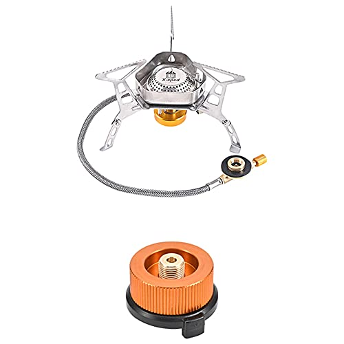 Windproof Camping Gas Stove,Portable Foldable Backpack Electronic Stove, 3500W Small Backpacking Stove Gas Burner with Piezo Ignition Outdoor Camp Cooker with Carrying Case