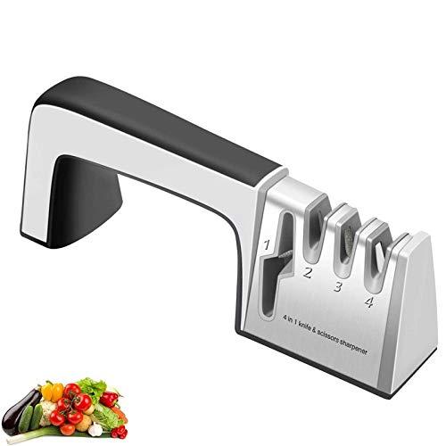 ZHAOZC Sacapuntas de Cocina portátil para Restaurar Cuchillos de casa no serrados Cuchillos de Forma rápida, 4 in1 afiladores de Cuchillos Cuchillos de Cocina Amoladora Piedra