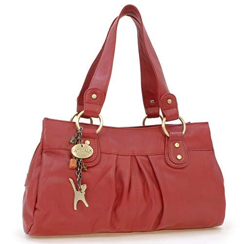 Catwalk Collection Handbags - Vera Pelle - Borsa a Spalla/Borse a Mano - Con Ciondolo a Forma di Gatto - Bella - ROSSO