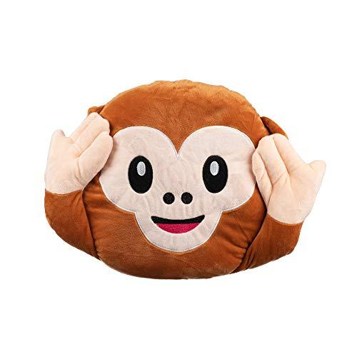 EMOTICO - Cuscino Smiley Emoji Scimmia 37 x 32 cm, morbido al tatto, 3 colori assortiti (orecchie)