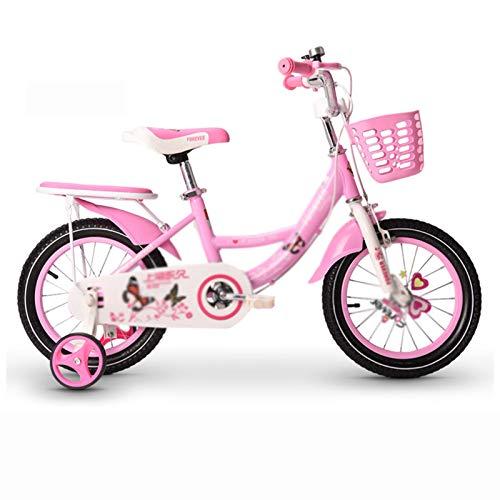 Kids Bikes Chunlan Bicicleta De Niña Estructura De Acero Al Carbono Niños Bicicleta Frenos Dobles Delanteros Y Traseros 90% Premontado Rosa Rojo 12/14/16/18 Pulgadas(Color:Rosado,Size:14 Inches)