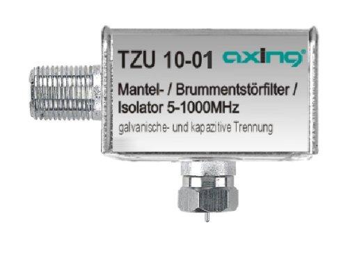 Axing TZU 10-01 Mantelstromfilter / Brumm-Entstör-Filter (5-1000 MHz) F-Anschlüsse für Kabelfernsehen Radio DVB-T2 HD