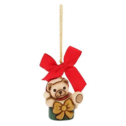 THUN - Mini Orso Teddy nel Pacchetto da Appendere - Addobbo Natalizio per Albero con Fiocco Rosso - Ceramica - I Classici