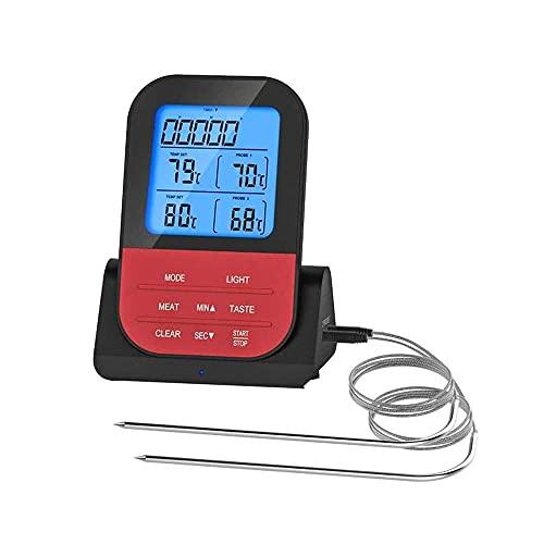 SMSOM Termómetro de Carne Digital de Doble sonda Retroiluminación LCD Grande para el Fumador de la Parrilla Termómetro de Horno de la Parrilla de la Parrilla con la sonda Dual Cocina de Cocina