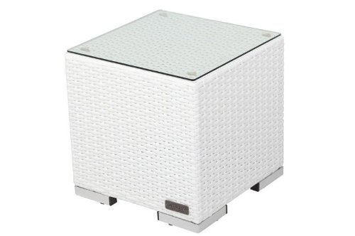 OUTFLEXX Beistelltisch aus hochwertigem Polyrattan in weiß, inkl. Glasplatte, 40 x 40 x 40 cm, Kleiner Garten-Tisch, Couchtisch, wetterfest, pflegeleicht, für den Outdoor-Bereich geeignet