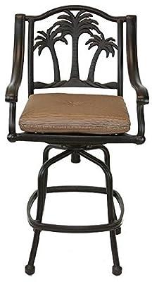"Palm Tree Outdoor Patio Set 6pc Swivel Barstools 30"" H Dark Bronze Cast Aluminum, Walnut Cushions"