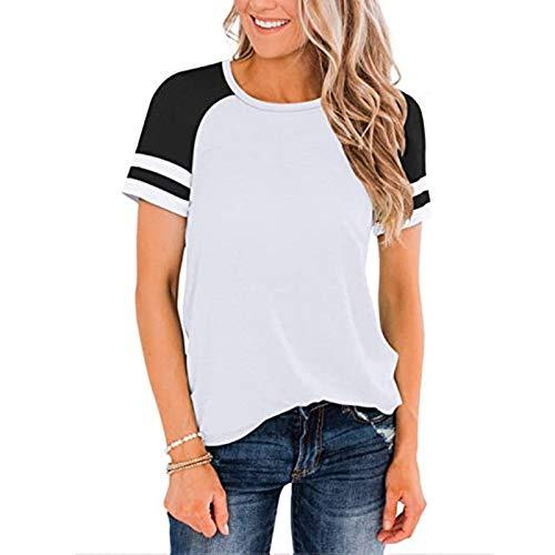 SLYZ Mujeres Europeas Y Americanas Primavera Y Verano Nuevas Blusas De Mujer Color Sólido Cuello Redondo Costura Camiseta De Manga Corta Mujer