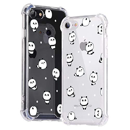 Idocolors Cover per iPhone SE 2020/7 / 8 Panda Carino Trasparente Custodia con Antiurto Cuscino d'Aria [Pannello Posteriore in Rigida PC + Angoli in TPU Morbido] Bumper Protettiva Silicone Case