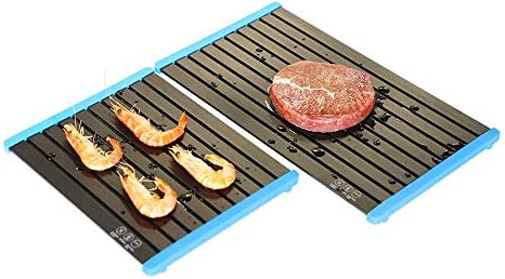 FORIOUS Fast Defrosting Tray for Meat 2 PCS Rapid Thawing Plate with Removable Blue Silicone product image