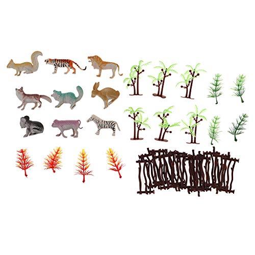 non-brand Animal Árbol Modelo Figura de Acción para Niños Juguete de Colección Regalo - Zoo Animal Set (36 pcs)