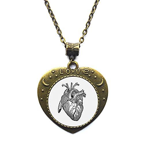 Collar de corazón anatómico, corazón humano, joyería de anatomía, joyería anatómica, ciencia, médica, medicina, médico, enfermera, colgante de arte de cristal-JV190