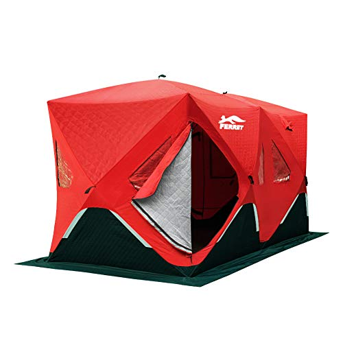 FERRET 6-8 Person 140'X70'X79' Waterproof Pop-up Portable Ice Shelter Tent Insulated Ice Shelter Fishing Tent Carrier Bag, Red