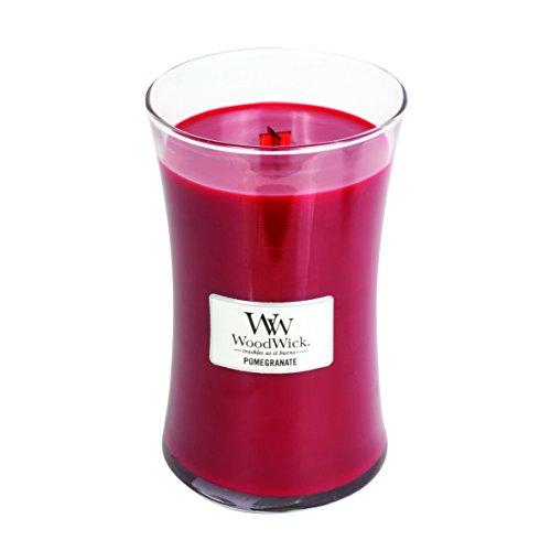 Woodwick Granatapfel Sanduhrformige große Duftkerze im Glas, 609.5 g, Weinrot/durchsichtig, 10.4 x 10.3 x 17.7 cm