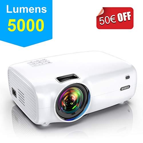 Proyector, WiMiUS 5000 Lúmenes Proyector Portátil Full HD Soporta 1080P Proyector Cine en casa 720P Nativo con Audio Hi-Fi Pantalla 200 ' Mini Video Proyector LED 60000 Horas HDMI/VGA/AV/ TF/USB