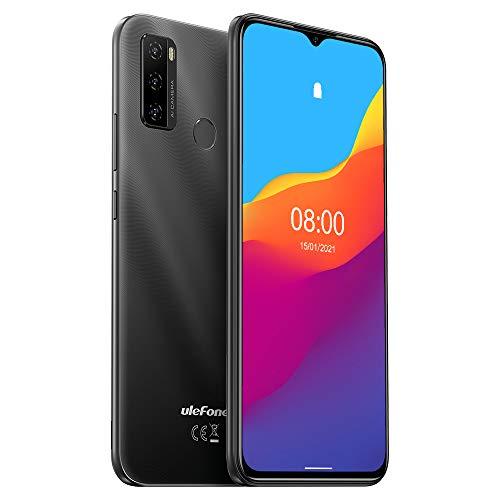Ulefone NOTE 10 (2021), Android 11 Smartphone oferta, 6,52 pulgadas móvil, Octa-Core 2 GB + 32 GB, 8 MP + 8 MP Quad Cámara, Dual SIM, Batería 4500 mAh OTG, Desbloqueo Huella Digital FM Negro