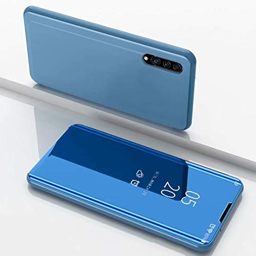 TiHen Spiegel Schutzhülle für Samsung Galaxy A8s Hülle, Smart-Fenstertasche Überzug Spiegel Flip Cover +Panzerglas Schutzfolie 2 Stück,Handyhülle Lederhülle Etui mit Standfunktion -Blau