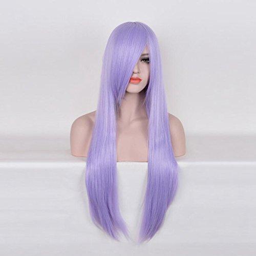 Longless Violet peut être incliné Qi Liu perruque cheveux droites