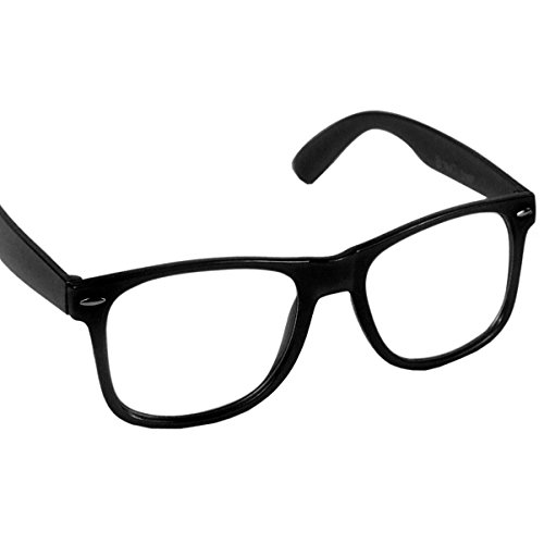 Hornbrille Atzenbrille Nerd Brille Klar Nerdbrille (Schwarz)