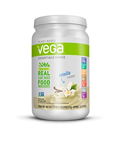 Vega Essentials Shake Vanilla(18 Servings, 21.9 oz.) - Plant Based Vegan Protein Powder, Non Dairy, Gluten Free, Smooth and Creamy, Non GMO